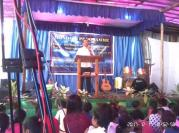Rev.Manhseng A. Momin delivering the Word of God at Siju Church.