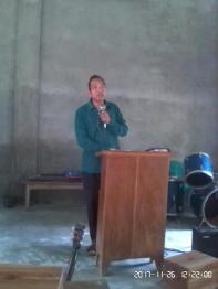 Mr.Sunmith G. Momin delivering the Word of God at Gimegre Church